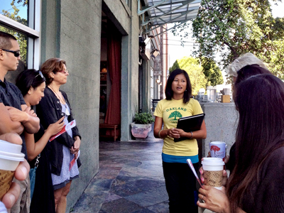 Geneva Europa leads a walking food tour in Oakland.Photo: Christel Okihara.