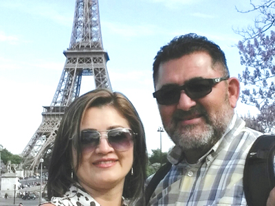 Evelyn and Erick Catalan from Hayward celebrating their 25th marriage anniversary in Europe earlier this year.