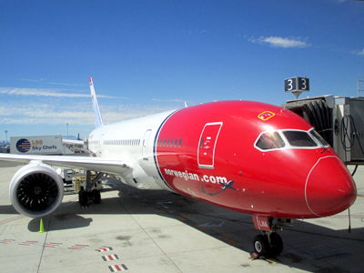 Norwegian operates one of the most modern and fuel efficient aircraft fleets in the world. The airline uses the state-of-the-art Boeing 787-8 Dreamliner for all flights between the United States and Europe. These new generation aircraft provide a number of innovations for increased passenger comfort, such as larger windows, a more silent cabin, and LED mood lighting programmed to optimize your awake and sleeping cycles.